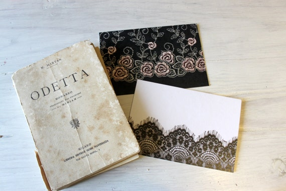SALE - Vintage inspired, black lace and butterflies, The Flavour of Night - Set of 8 postcards