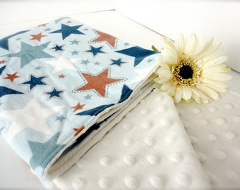 "Minky Baby Boy Blanket - Baby Blanket - Minky Flannel Blanket - All Star Baby Boy Blanket 30"" x 36"""