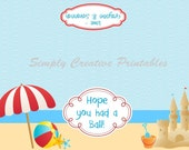 Pool or Beach Themed Favor Bag Toppers