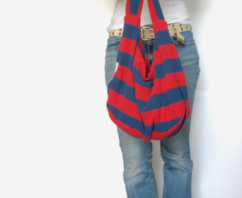 Nautical Striped Fabric Purse. Hobo Bag. Boho Bag. Over