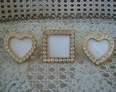Set of 3 Vintage Rhinestones Jeweled Picture Frames