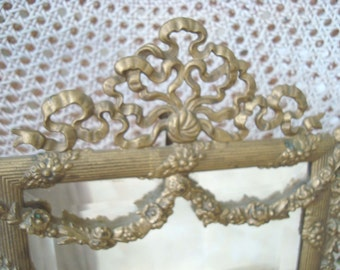 The Best Antique Large French Beveled Mirror With Ornate French Frame Bows & Garlands