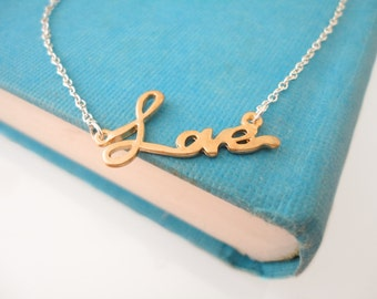 Love Necklace Silver Gold Pendant Necklace Love Jewelry Love Charm Wedding Sterling Silver Necklace Jewelry Gift for Her Gift Idea