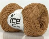 ICE WOOL SUPERFINE (50% Wool) Hand Knitting Yarn Brown, 2 skeins, 100g -1,300m (1,422 yards)