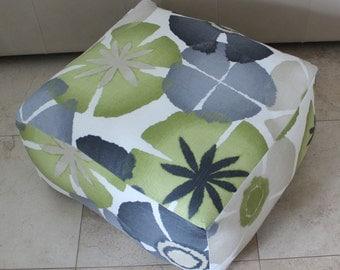 Square Pouf Floor Pillow Robert Allen Pure Petals Greystone
