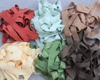 Fold over elastic 6 colors 2 yards of each color