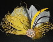 Yellow Bleached Peacock, White Black Feathers Boutique Hair Clip Bridal Fascinator w Rhinestone accents Photp Prop