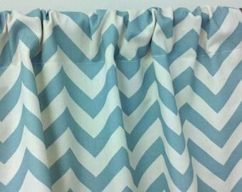 Custom Window Valance 50wx15L curtain Trendy Home Decor in Beautiful Village Blue and Ivory Zigzag Chevron