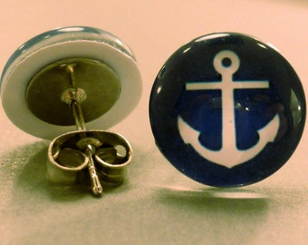 Anchor Studs: Blue Anchor Cabachon Studs, Fake Plugs, Nautical Jewelry, Anchor Earrings, Summer
