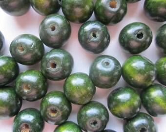 Dark Green Wood Beads 20mm 14 Beads