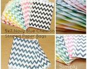 SALE Navy Blue Chevron Striped Party Favor Bags, 24 5x7 Chevron Striped Paper Bags