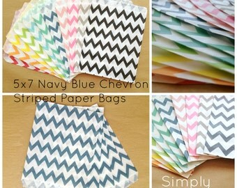 SALE Navy Blue Chevron Striped Party Favor Bags, 24 5x7 Chevron Striped Paper Bags