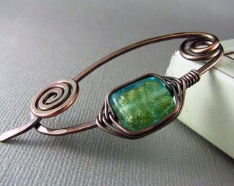 Shawl Pin Copper Wire Scarf or Sweater Pin Fibula Wire Wrapped Jewelry Hammered Copper Brooch