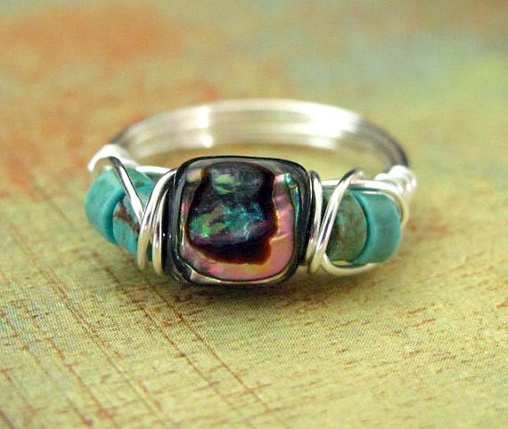 Wire Wrapped Ring Abalone Paua Shell Wire Wrapped Jewelry Nickel Free Silver Wire Ring