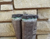 Boot Cuffs / Boot Toppers: Crocheted in grey and Charcoal Grey Bobbles