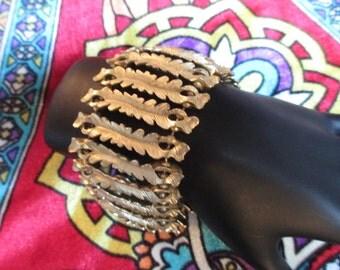 Retro Wide Gold Tone Bracelet