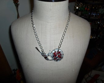 Vintage Ooak Silver Tone Necklace Repurposed Red Aura Borealis Iridiscent Rhinestones Flower Sideways Handmade Upcycled Adjustable Recycled