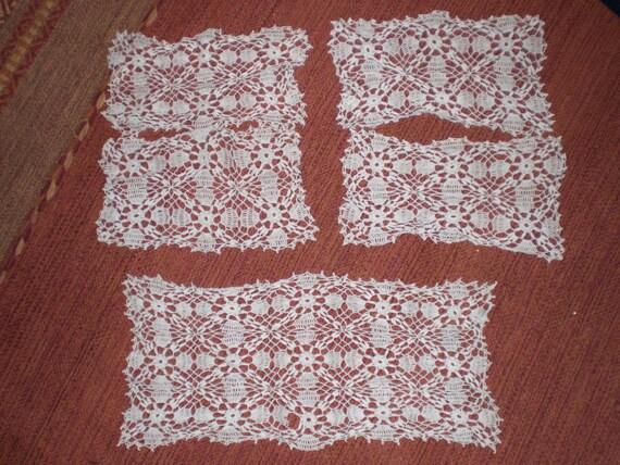 Vintage 1940s 50s Furniture Crochet Doilies Set By