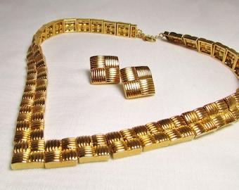 Basketweave Elegance: Necklace & Earrings Set - Vintage Gold Jewelery Set by Avon