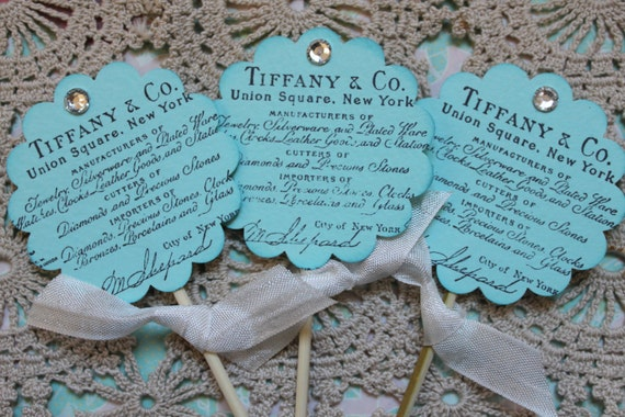 Items similar to 12 Tiffany and Co Cupcake ToppersWedding