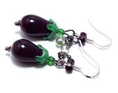 Glass eggplant earrings on a sterling silver hook