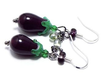 Glass eggplant earrings on a sterling silver hook