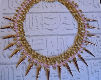 Egyptian Collar Cleopatra necklace Egyptian necklace in pink and gold.