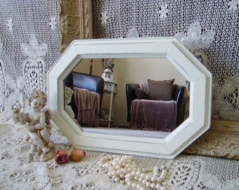 Shabby French Country Cottage Mirror, octangle, creamy white, distressed, chippy, wood, painted vintage