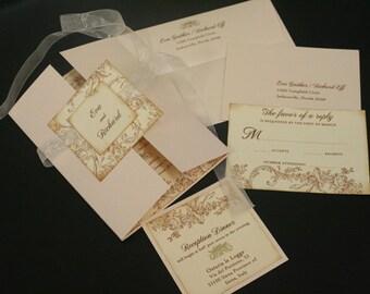 Vintage Wedding Invitation Sets, Flowers & Flourish, French, Romantic, Marie Antoinette, Unique, Christian, Gold, Color Options