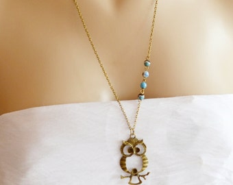 Owl Necklace,Antique Brass Owl Pendant,Whimsical Owl Charm Necklace,Owl Jewelry,Long Owl Necklace,Vintage Style Pendant,Blue Agate Owl Char