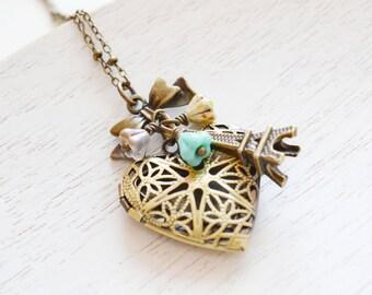 Locket Necklace,Keepsake Jewelry,Ribbon bow Necklace,Eiffel Tower Locket Necklace,Gift for her,Heart Locket Jewelry,Paris Charm Locket