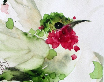Large Hummingbird Art Print, Original Bird Art Print Flying Ruby-Throated Hummingbird