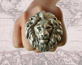 Silver Large Lions Head Big Ring Neo Victorian Safari Steampunk Large Leo Statement Ring with Adjustable Band