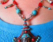BEGIN YOUR JOURNEY Coral and Turquoise Buddha/Temple Pendant Beaded Necklace
