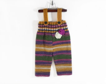 Knitted Baby Girl Overalls Colorful 1 - 2 years Winter Trousers Jumpsuit Knit Baby Pants Toddler Wool Longies Fall Winter Toddler Clothing