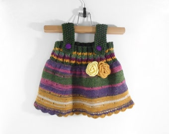 Knitted Baby Dress - Green, Purple, Brown, 6 - 9 months