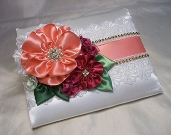 Wedding Guest Book and matching Pen Set with Lace and Flowers in Coral & Watermelon, Bridal Guest Book and Pen Set