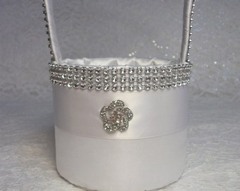 Simple Elegance Flower Girl Basket in White Taffeta with Rhinestone Mesh handle and Trim