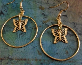 Gold Filigree BUTTERFLY CHARM Drop EARRINGS / Unique  Gift for Her / Gift Under 10 Dollars /stocking stuffer /  Gift boxed