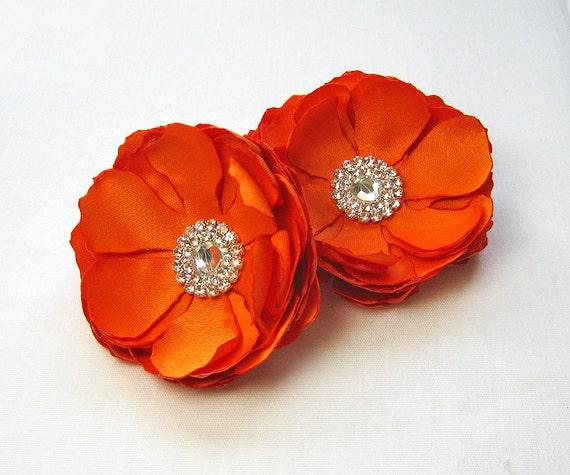 Wedding Hair Clip - Bridal Hair Clip in Orange, Bridesmaid, Flower Girl, Formal Occasion or an Event.