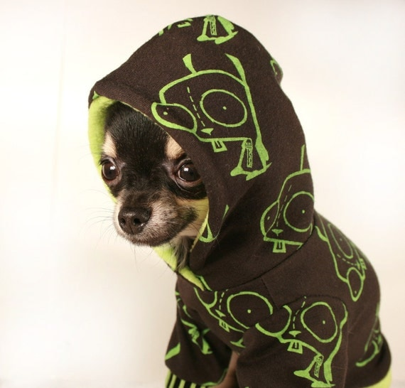SALE Dog Clothes XS Invader Zim Gir dog Hoodie Lime green