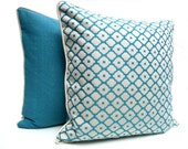 Turquoise and white contemporary pillow, geometric pillow cover