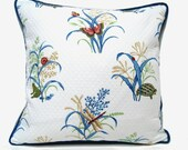 Cottage chic pillow, embroidered pillow, woodland pillow, gardeners pillow, indigo blue pillow