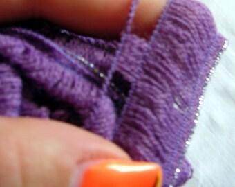 Ruffle yarn, Lambada lame, flamenco, can can, fantasy, sashay yarn. Ruffle skirt and scarf yarn. with metal glitter thread edging SALE!