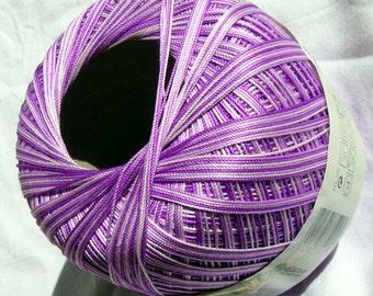 Crochet Yarn 100% merserised gassed Cotton. Hypoallergenic. Multicolor in shades of purple