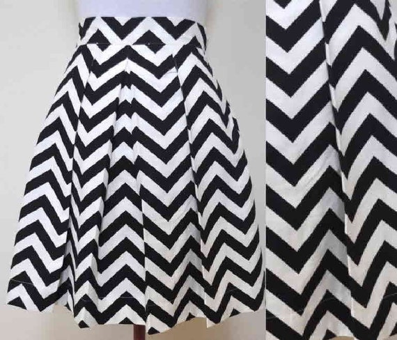 Black and White Chevron Striped Katie Skirt full gathered and pleated skirt very retro and vintage 50's and 60's inspired Custom made