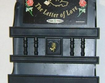Vintage Black Plastic Colonial Love Letter Holder