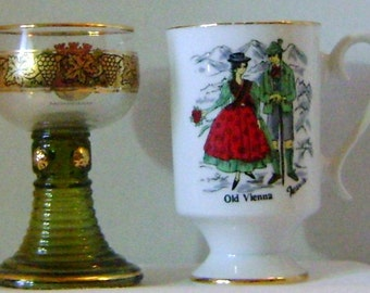 Wine Glass From Mannheim and Porcelain Cappuccino Cup of Old Vienna