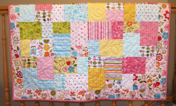 "Sale Sunny Happy Skies Baby or Toddler Girl Quilt--39"" x 48"""