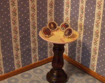 """dollhouse scale """"collectable plates"""" set of four andersen fairy tale plates with stands"""